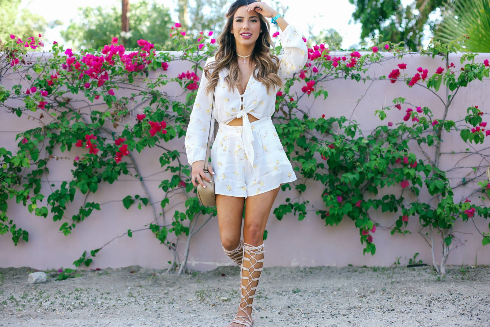 Ariana Lauren Flynn Skye Floral Romper Day Two Coachella Festival Trends-0644